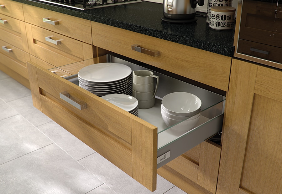 Tewkesbury shaker oak kitchen Hettich drawer from Riley James Kitchens Gloucestershire