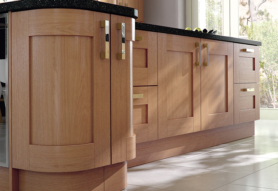 Tewkesbury shaker oak kitchen island quadrant doors, from Riley James Kitchens Stroud