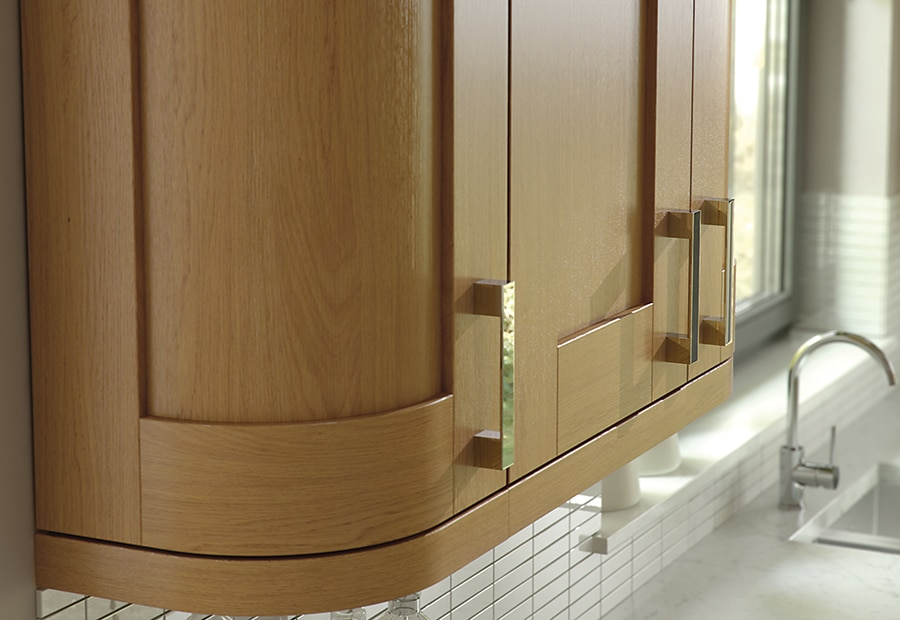 Tewkesbury shaker oak kitchen quadrant wall unit, from Riley James Kitchens Gloucestershire