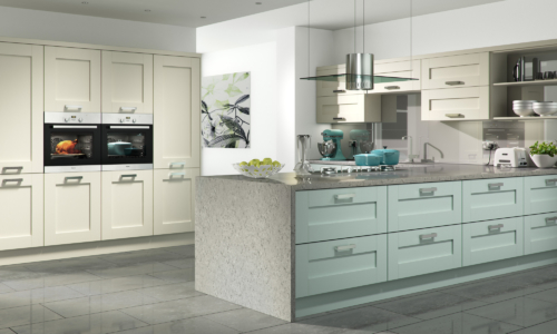 Tewkesbury shaker painted ivory light blue kitchen hero, from Riley James Kitchens Gloucestershire