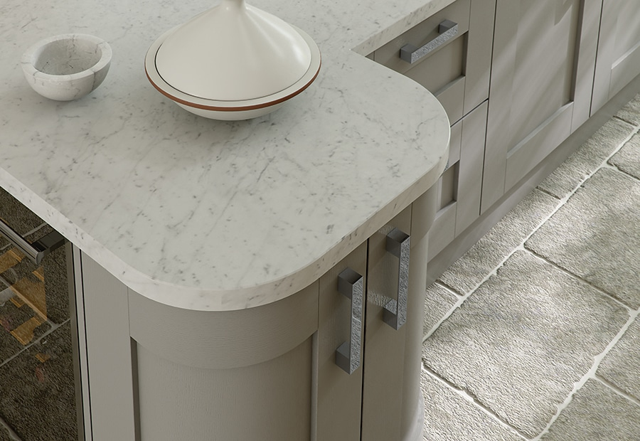 Tewkesbury shaker stone kitchen quadrant doors, from Riley James Kitchens Gloucestershire