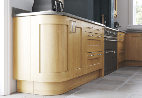 Woodchester light oak kitchen quadrant door A, from Riley James Kitchens Stroud