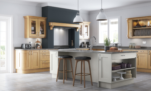 Woodchester light oak painted stone kitchen hero B, from Riley James Kitchens Stroud