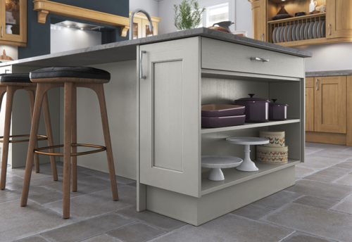 Woodchester light oak painted stone kitchen island open shelf A, from Riley James Kitchens Stroud