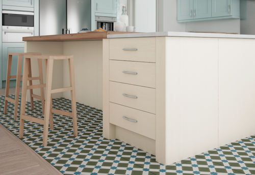 Woodchester painted ivory kitchen 100mm pilaster, from Riley James Kitchens Stroud