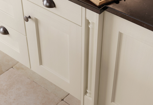 Woodchester painted ivory kitchen box pilaster, from Riley James Kitchens Stroud
