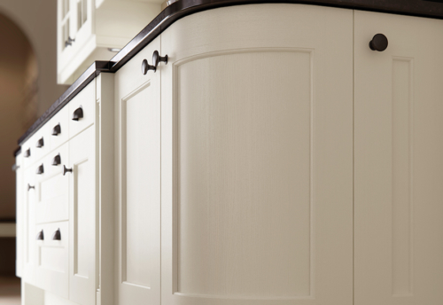 Woodchester painted ivory kitchen quadrant door, from Riley James Kitchens Stroud