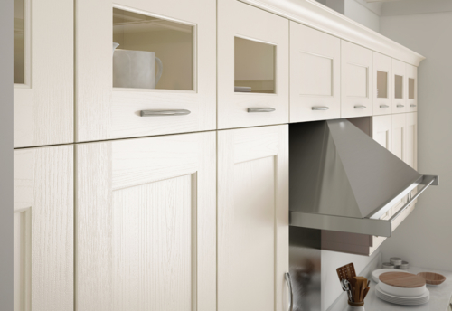 Woodchester painted ivory kitchen quadrant glazed wall units, from Riley James Kitchens Stroud