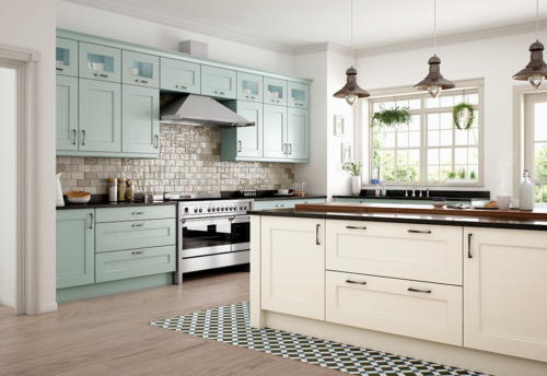 Woodchester painted ivory powder blue kitchen cabinets, from Riley James Kitchens Stroud