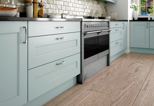 Woodchester painted ivory powder blue kitchen drawers, from Riley James Kitchens Stroud