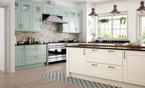 Woodchester painted ivory powder blue kitchen hero, from Riley James Kitchens Stroud