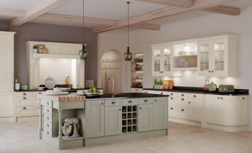Woodchester painted ivory sage green kitchen hero, from Riley James Kitchens Stroud