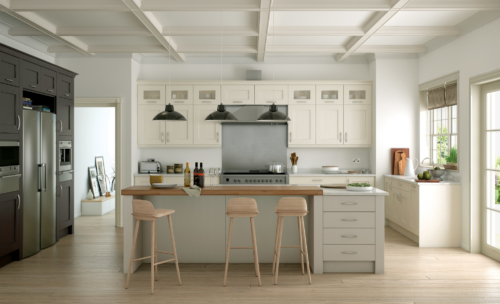 Woodchester painted ivory stone lava kitchen hero, from Riley James Kitchens Stroud