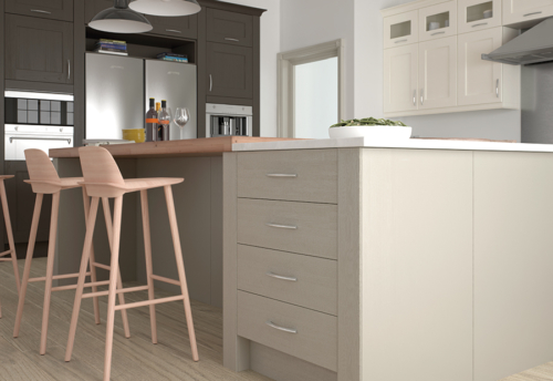 Woodchester painted ivory stone lava kitchen island pilaster, from Riley James Kitchens Stroud