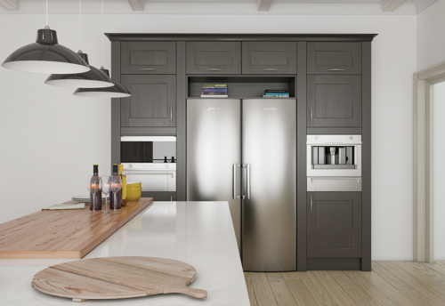 Woodchester painted lava kitchen cabinets, from Riley James Kitchens Stroud