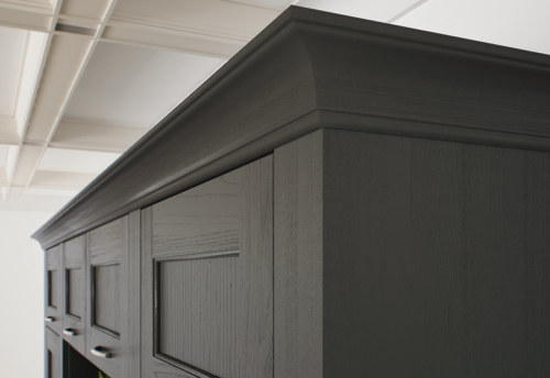 Woodchester painted lava kitchen cornice, from Riley James Kitchens Stroud