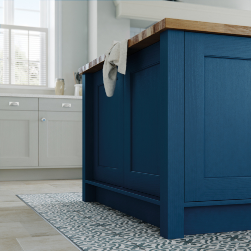 Woodchester painted parisian blue and mussel island end panel, from Riley James Kitchens Stroud