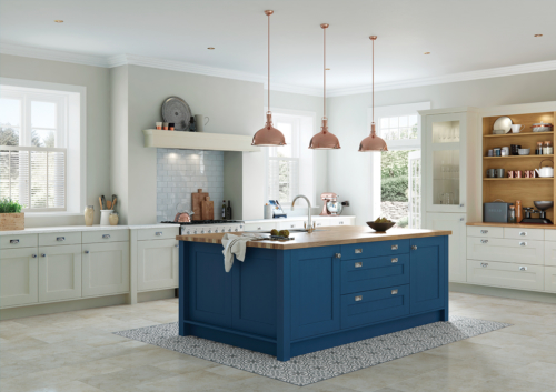 The Woodchester painted parisian blue and mussel main, from Riley James Kitchens Stroud