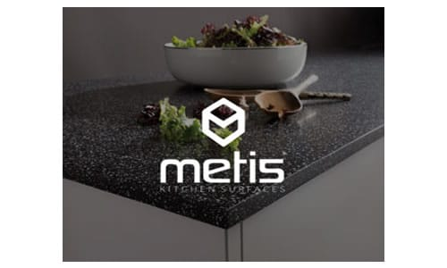 metis solid surface worktops, available from Riley James Kitchens