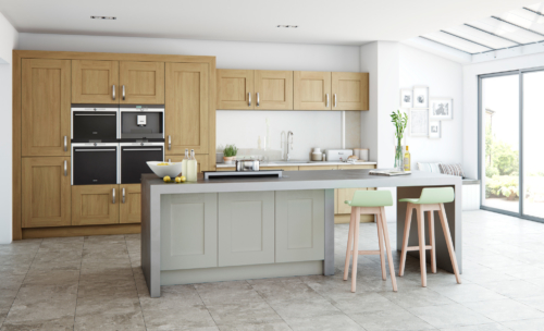 Oakridge oak and painted stone hero - from Riley James Kitchens Gloucestershire