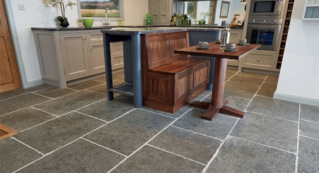 Strata Urbino Natural Stone flooring, available from Riley James Kitchens Gloucestershire